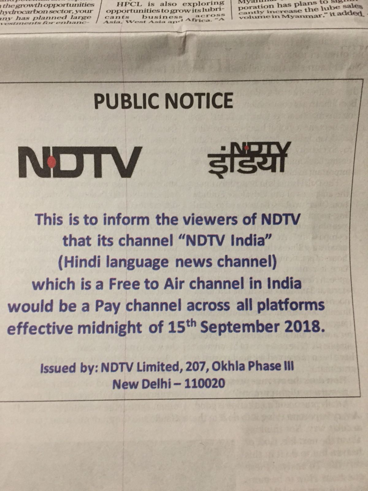 NDTV India reverts to pay channel from FTA | Indian