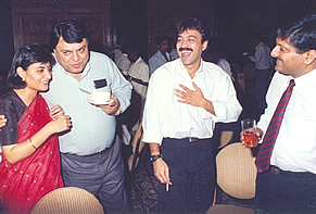 Sharing a laugh with Shashi Sinha and others