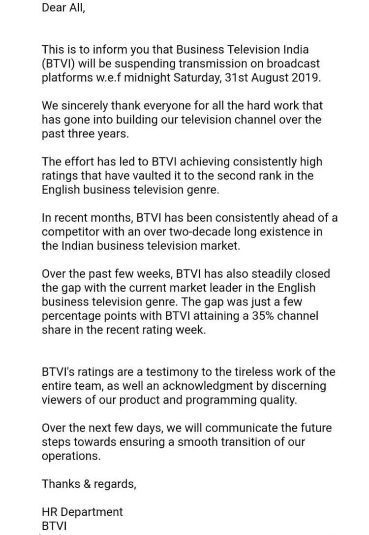 BTVi abruptly suspends transmission on broadcast platforms