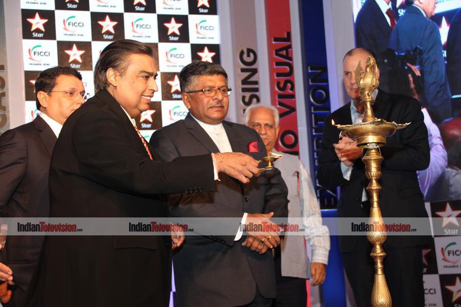 Communication and Information Technology Minister Ravi Shankar Prasad, Reliance Industries Ltd Chairman and MD Mukesh Ambani