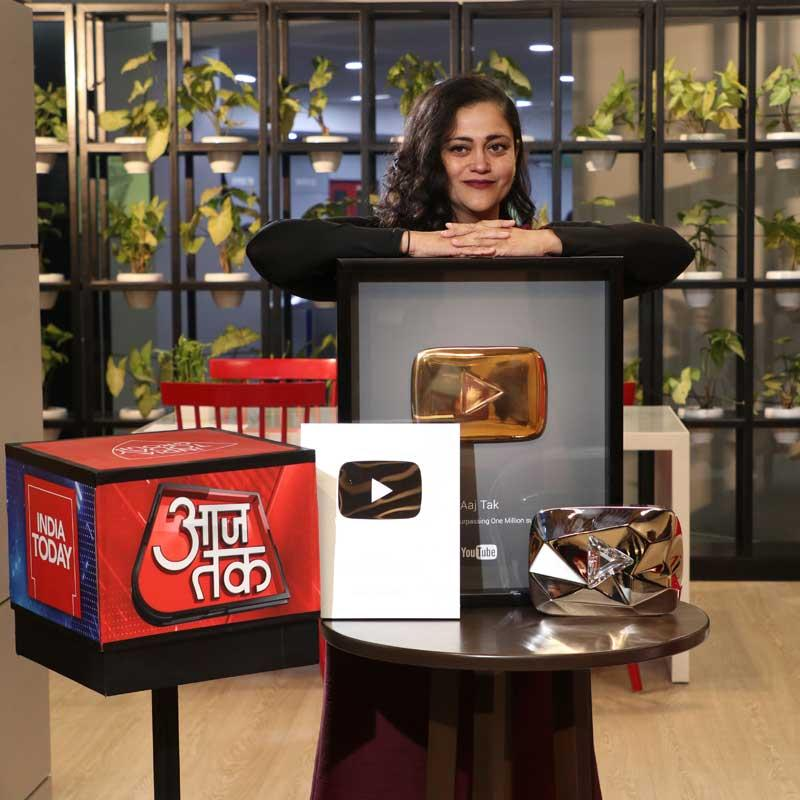 Aaj Tak Becomes The World S First News Channel To Be Awarded Youtube S Diamond Play Button Indian Television Dot Com