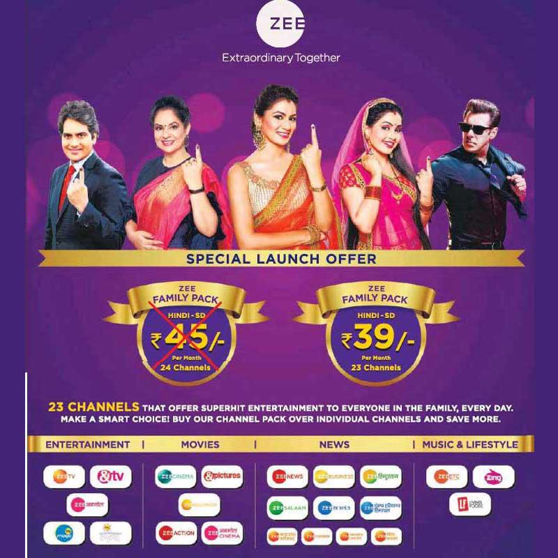 6264087c77d6 ZEEL launches 'Zee Family Pack' at Rs 39 per month for 23 channels ...