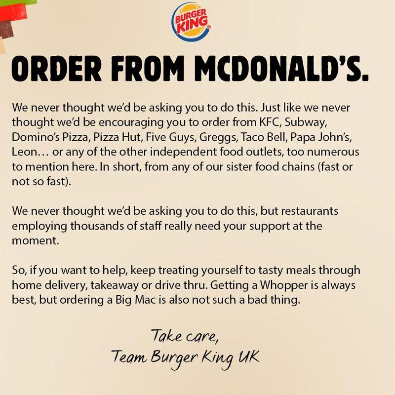 Burger King's Sportsmanship revealed during this worst time