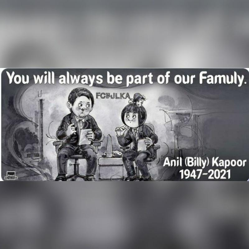 Amul pays heartfelt tribute to Anil 'Billy' Kapoor - Indiantelevision.com